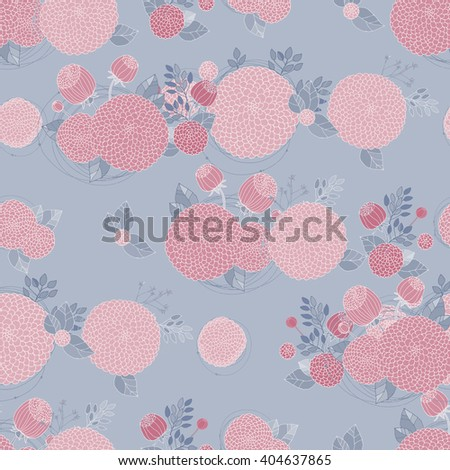 Floral Seamless Pattern. Round Hand Drawn Asters on Grey Blue Background.