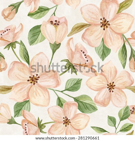 Floral seamless pattern. Watercolor hand painted background with flowers and leaves. - stock photo