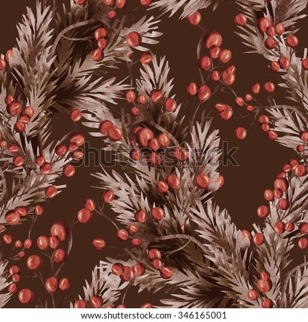 Floral seamless pattern with berries twigs