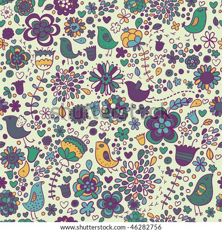 Floral seamless pattern with birds - stock photo