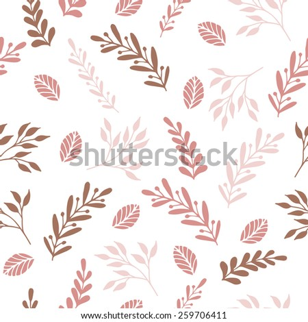 Floral seamless pattern with branches and leaves. Raster version - stock photo