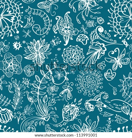 Floral seamless pattern with doodle flowers, illustration
