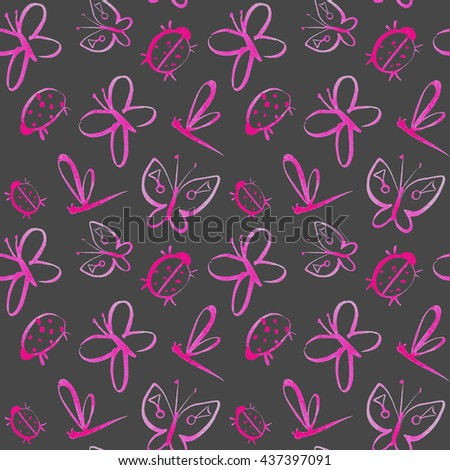 Floral seamless pattern with pink insects.Butterfly, dragonfly and ladybug.Watercolor hand drawn illustration.Grey background. - stock photo