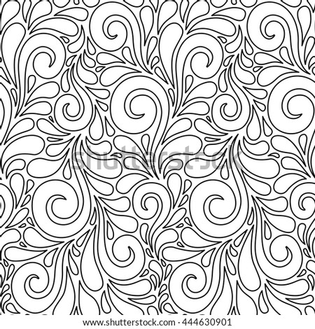 Floral seamless pattern with swirl shapes. Black and white linear background. Decorative illustration for print, web