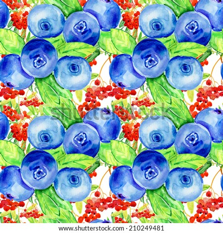 Floral seamless texture. Nature pattern. Flowered background with bilberry and rowan. - stock photo