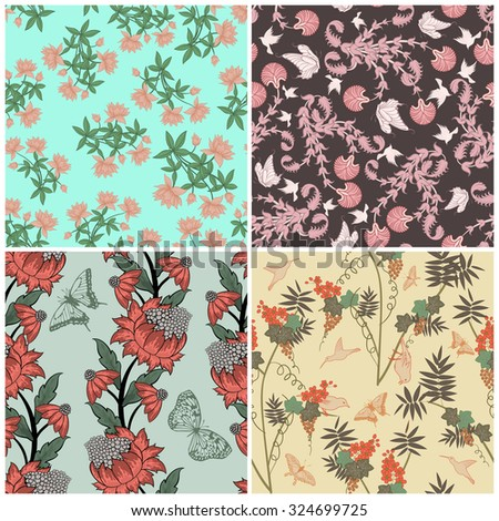 Floral Seamless Vector Pattern Set.  Elegant Design With Beautiful Flowers, Butterflies and Birds on Color Background. Floral and Swirl Elements. Ideal for Textile Print and Wallpapers. - stock photo