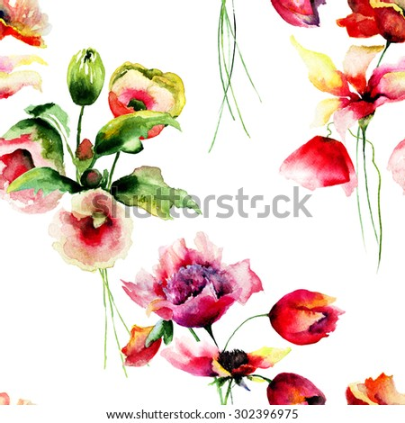 Floral Seamless wallpaper, watercolor illustration