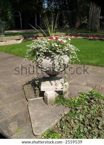 floral setting in park - stock photo