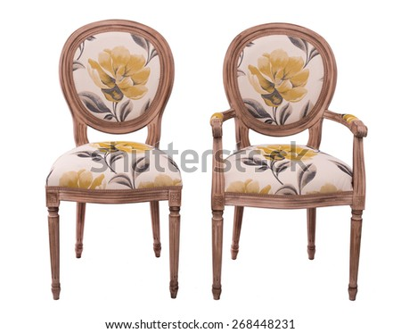 floral sitting chairs isolated on a white background - stock photo