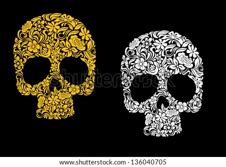 Floral skull in retro style for ecology concept design. Vector version also available in gallery - stock photo
