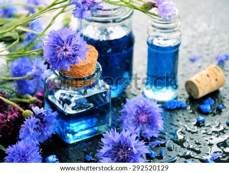 Floral spa and wellness, natural products, flowers cornflower - stock photo