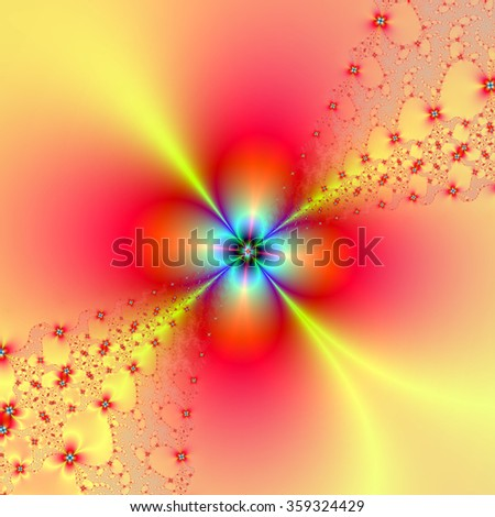Floral Sprays in Red and Yellow / A digital fractal image with a spray of flowers in red, yellow, blue and green.