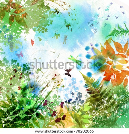 Floral spring and summer design, watercolor painting - stock photo