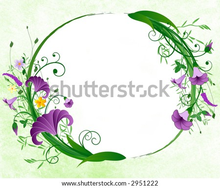 Floral spring oval border - stock photo