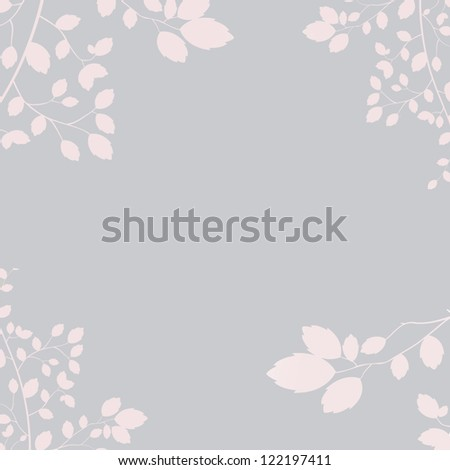 floral square wedding invite in pink and gray - stock photo