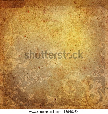 floral style old paper textures background