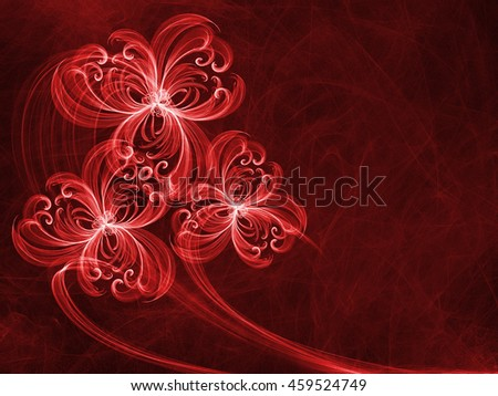 floral style smoke red line ornament background, flower abstract