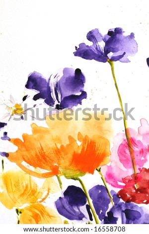 Floral summer design with hand-painted abstract  flowers in different colors on white background. Art is painted and created by photographer. - stock photo