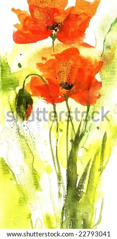 Floral summer design with hand-painted abstract flowers in orange colors on white background. Art is painted and created by photographer. - stock photo