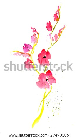 Floral summer design with hand-painted abstract japanese flowers  on white background. Art is painted and created by photographer. - stock photo