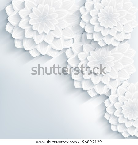 Floral trendy creative background with white and gray stylized 3d flowers. Beautiful stylish elegant background. Greeting or invitation card for wedding, birthday and life events.