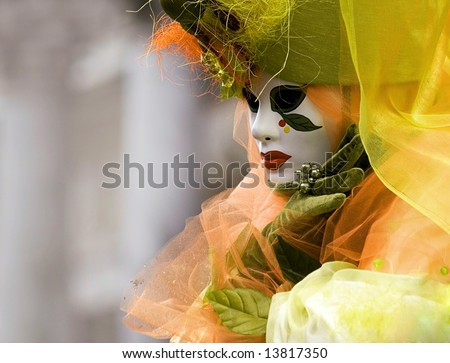 floral venetian mask - stock photo
