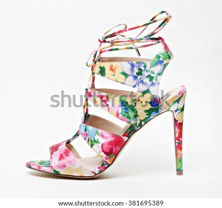 floral very elegant summer women high heel shoe isolated  with shadows - stock photo