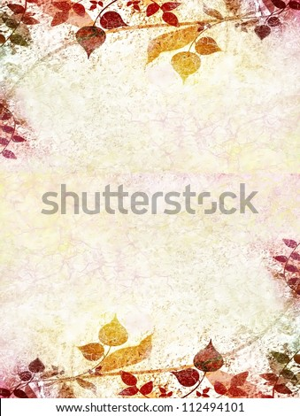 Floral vintage leaves on used paper background - stock photo