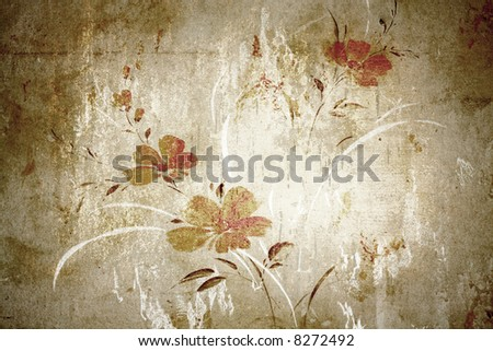 Floral vintage wallpaper and background - stock photo