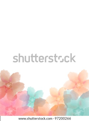 Floral Watercolor Announcement for Wedding or Birthday, or special occasion. - stock photo