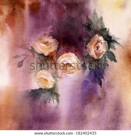 Floral Watercolor background - stock photo