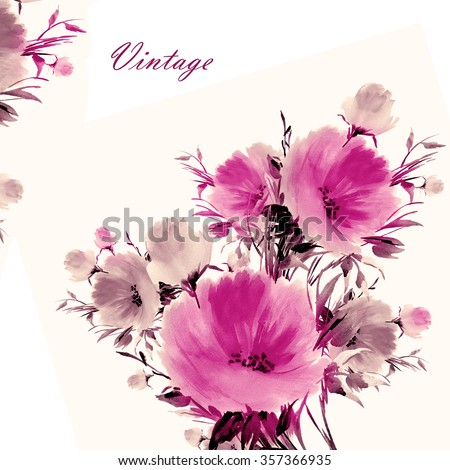 Floral watercolor bouquet of delicate flowers-3. Beautiful floral background of watercolor sketches for the design and decoration - stock photo