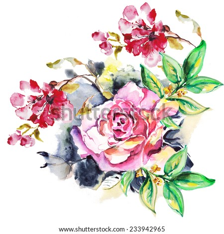 """floral watercolor illustration. Album """"Bouquet of flowers."""" """"New bouquets bu a holiday from water color flowers"""".""""Roses watercolor"""" - stock photo"""