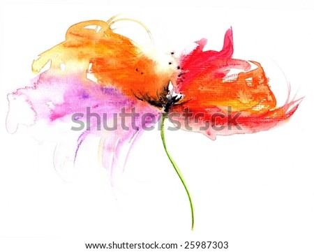 Floral watercolor illustration of fantasy flower in beautiful colors. Art created by photographer - stock photo