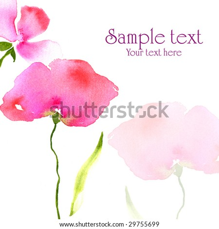 Floral watercolor illustration of poppie flowers for card design. Art created by photographer - stock photo