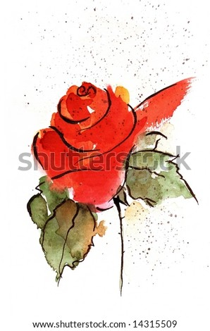 Floral watercolor Illustration of red rose flower with green leave on white beackground. Art is painted and creatd by photographer - stock photo