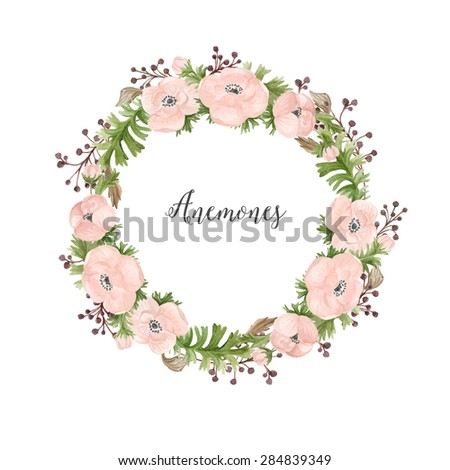 Floral watercolor wreath of anemones - stock photo