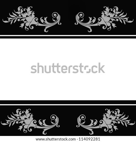 Floral wedding invitation background in black and white - stock photo