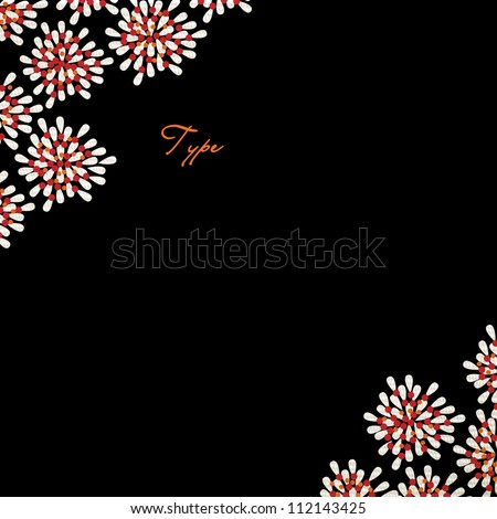 Floral wedding invitation template in red, black and orange with room for type - stock photo