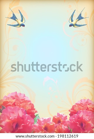 Floral wedding party card with flowers, birds. Free flying swallows, decorative ornament, realistic bouquets of roses, text. Romantic flyer in retro style - stock photo