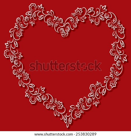 floral white frame in the shape of hearts on a red background - stock photo