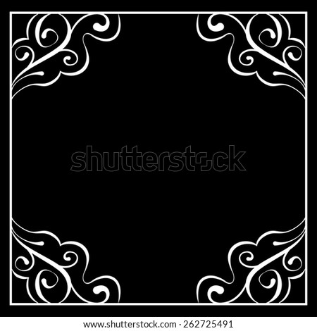 floral white frame on a black background - stock photo
