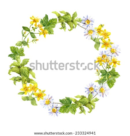 Floral wreath. Herbs and meadow flowers. Watercolor round border - stock photo