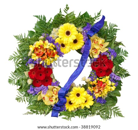 Floral Wreath isolated with clipping path