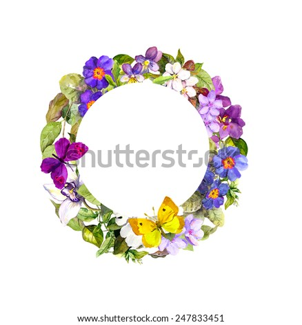 Floral wreath - meadow flowers, wild grass and spring butterflies - stock photo