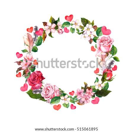 Heart wreath vector