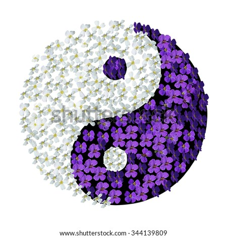 Floral Yin Yang. Yin Yang symbol with white and purple flowers with droplets isolated on white. - stock photo