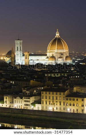 Florence and Florence dome at dusk - stock photo
