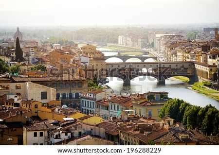 Florence and Ponte Vecchio panoramic view from Piazzale Michelangelo, Firenze, Italy - stock photo