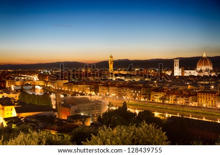 Florence, Arno River and Ponte Vecchio at dawn, Italy - stock photo